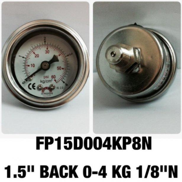 "Safeguage Pressure Gauge 0-4 Kg/cm2 & 0-60 psi Dia.1.5"" Conn.1/8""npt Back Type"